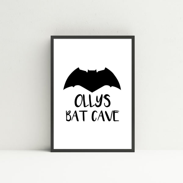 'Personalised Bat Cave' Wall Print - Pika & Pookie Designs
