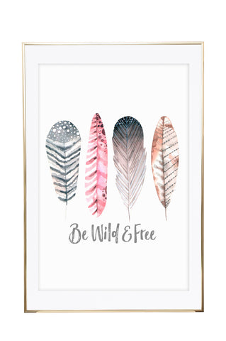 'Be Wild & Free - Feathers' Wall Print - Pika & Pookie Designs