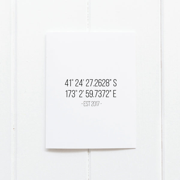 Customised 'Coordinates - Special Places' Wall Print