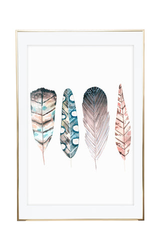 'Watercolour Feathers' Wall Print - Pika & Pookie Designs