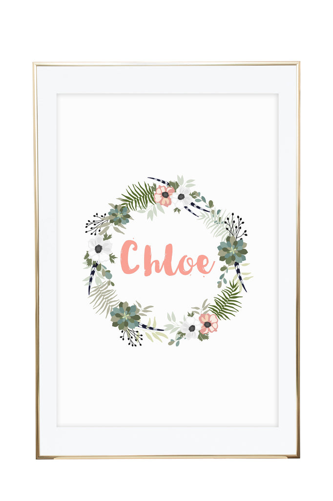'Personalised Name Print - Floral Circle' Wall Print - Pika & Pookie Designs