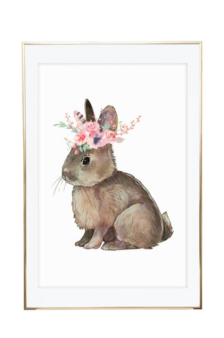 'Floral Bunny' Wall Print - Pika & Pookie Designs