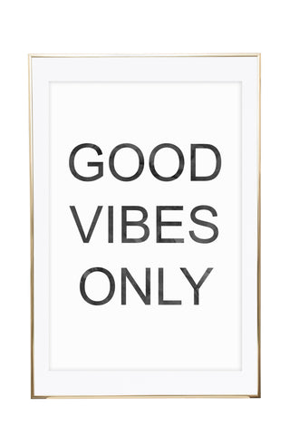 'Good Vibes Only - Grey Watercolour' Wall Print - Pika & Pookie Designs