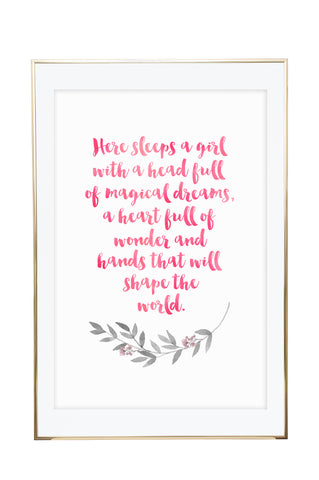 'Head Full of Dreams' Wall Print - Pika & Pookie Designs