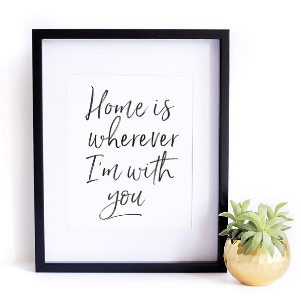 'Home Is Wherever I'm With You' Wall Print - Pika & Pookie Designs