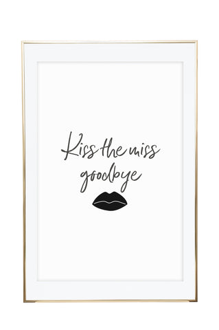'Kiss The Miss Goodbye' Hen's Party Wall Print - Pika & Pookie Designs