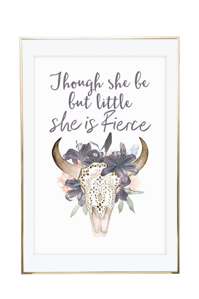 'Little & Fierce' Wall Print - Pika & Pookie Designs