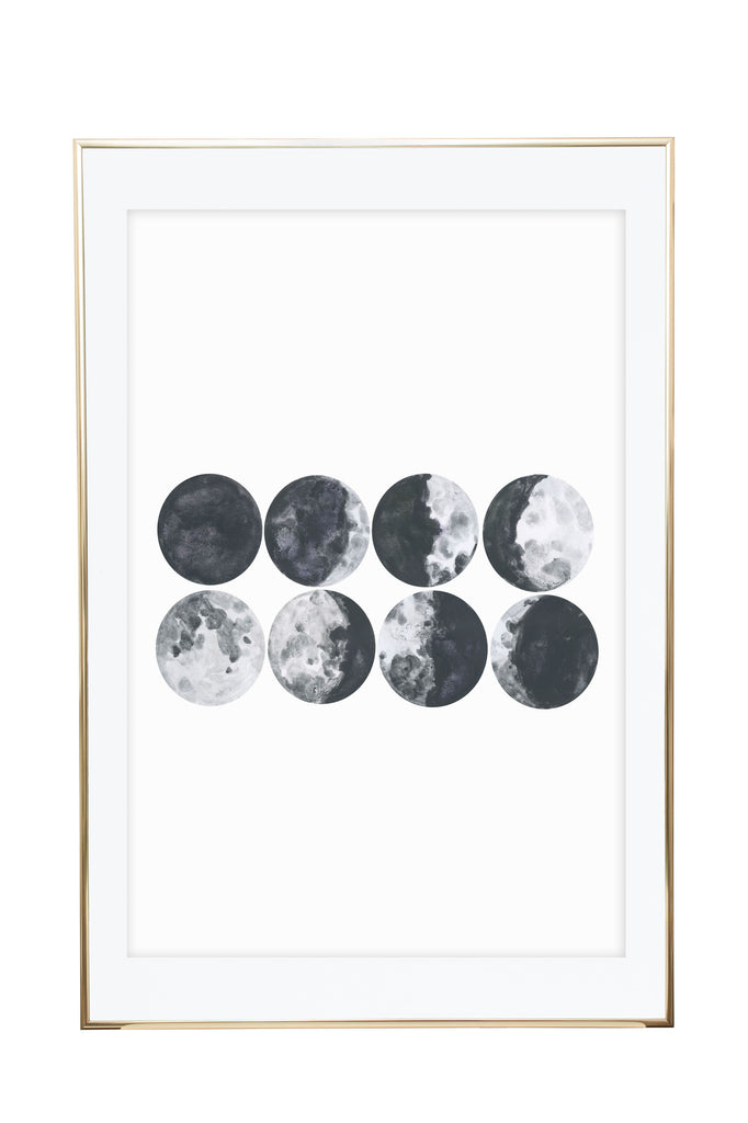 'Moon Phases' Wall Print - Pika & Pookie Designs