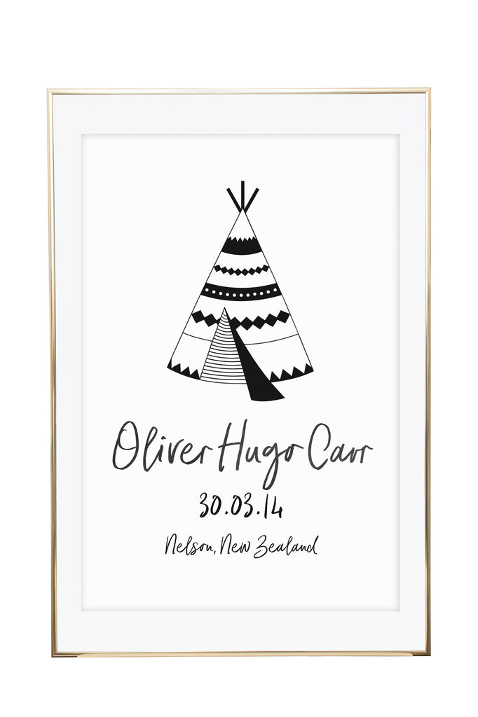 'Personalised Monochrome Teepee' Birth Print - Pika & Pookie Designs
