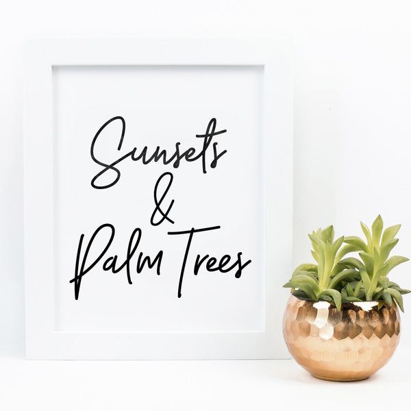 'Sunsets & Palm Trees' Wall Print - Pika & Pookie Designs