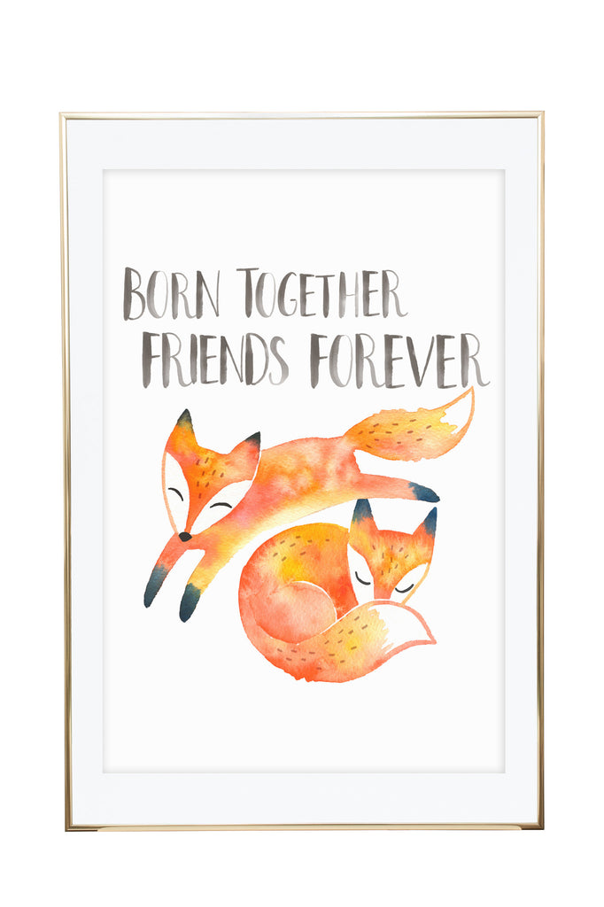'Twin Foxes' Wall Print - Pika & Pookie Designs