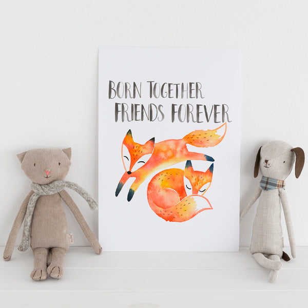 'Twin Foxes' Wall Print