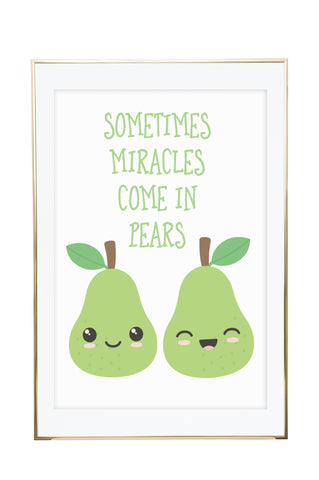'Miracle Pears' Twins Wall Print - Pika & Pookie Designs