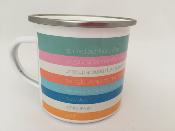 Stripy enamel mug with wording by ebbflowcornwall