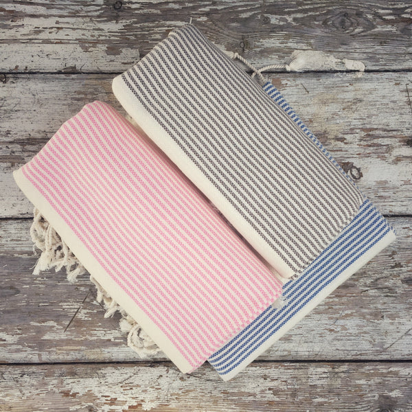 Selection of cotton hammam towels by Ebb Flow Cornwall