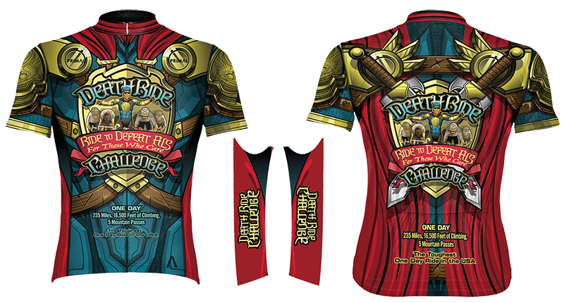 2017 DEATH RIDE Challenge Jersey by PRIMAL. Custom artwork by Brandon Sopinsky, SOPINSKYCREATIONS a TEAM WEIRD company.