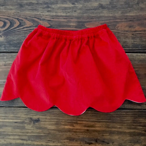 Girls Red Corduroy Scallop Skirt