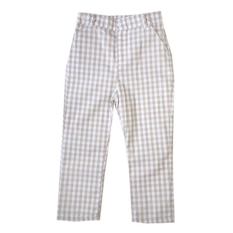 Landon Tan Gingham Pants