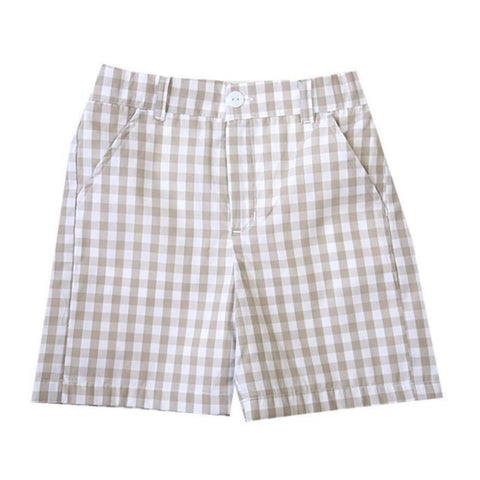 Landon Tan Gingham Shorts