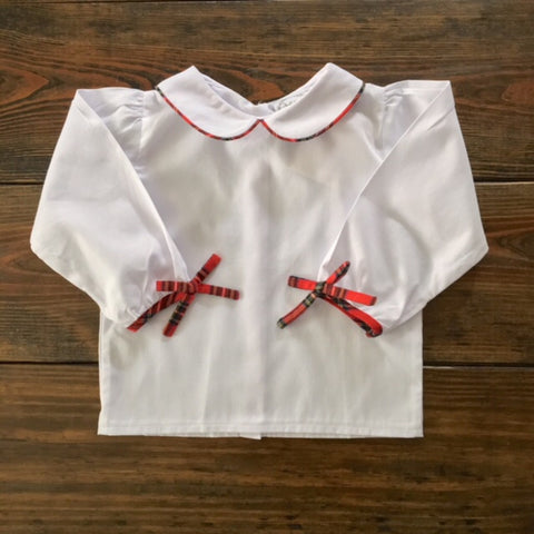 Girls Red Tartan Trimmed Long-sleeve Shirt