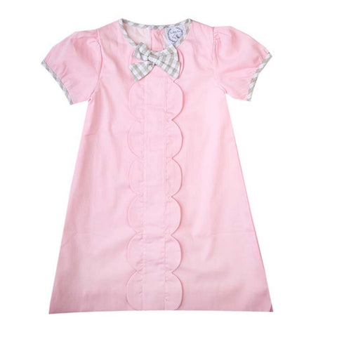 Isabella Pink & Tan Gingham Dress