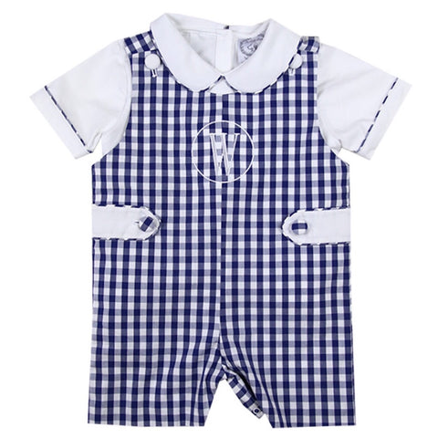Navy Gingham Shortall