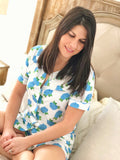 Blue Hydrangea Ladies Loungewear Shorts Set