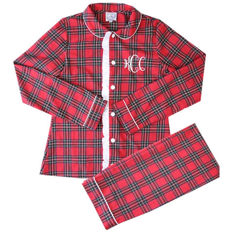 women's mommy & me red tartan loungewear