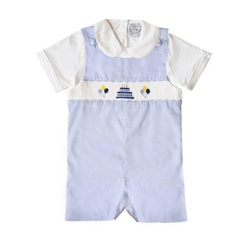 Light Blue & Gingham Birthday Shortall