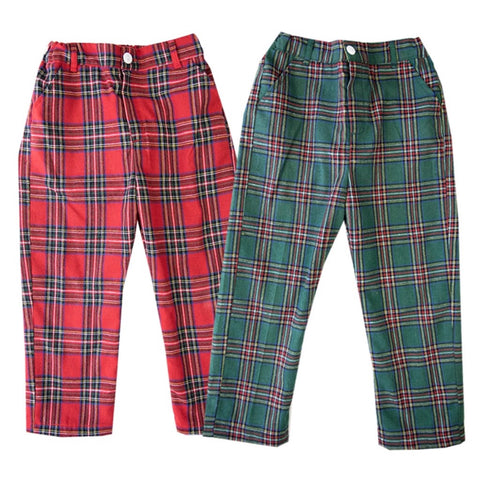 Boys Christmas Tartan Pants Holiday Christmas Outfit