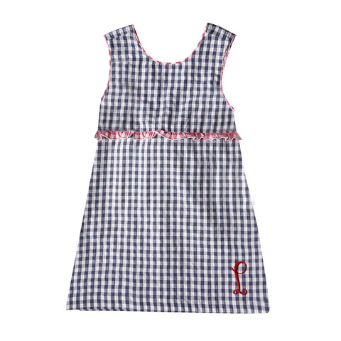 Patriot Navy Gingham Seersucker Dress