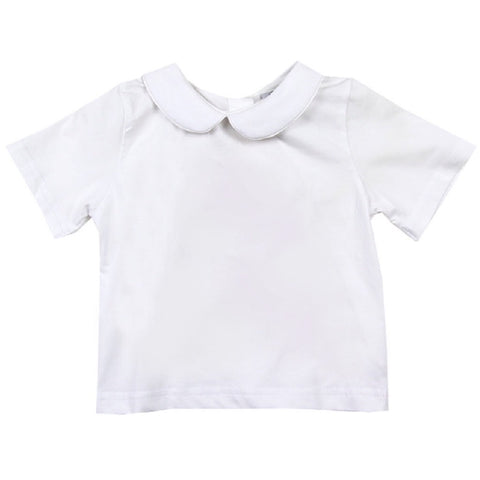 Unisex Peter Pan White Knit Short-sleeve Shirt