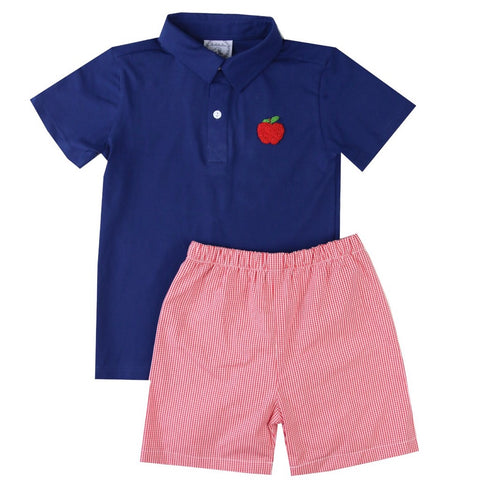 Andrew French Knot Apple Polo & Shorts Set