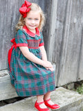 Gracie Green Tartan Smocked Holiday Dress