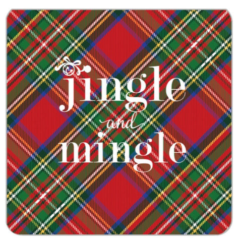 Red Tartan Jingle & Mingle Paper Coasters