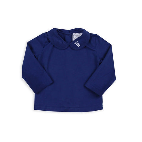 Unisex Navy Peter Pan Knit Long-sleeve Shirts