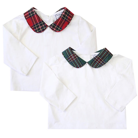 tartan white top for girls