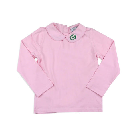 Pink Peter Pan Knit Long-sleeve Shirts