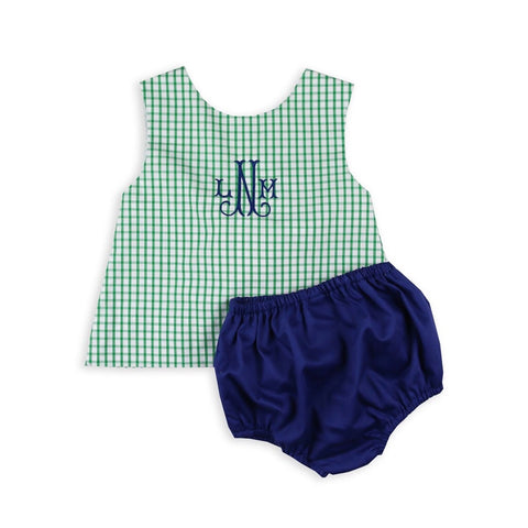 Girls Green Windowpane Bow Bloomer Set