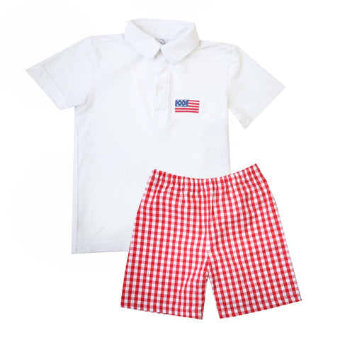 Americana Polo & Shorts Set