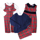 matching red tartan holiday sibling outfits