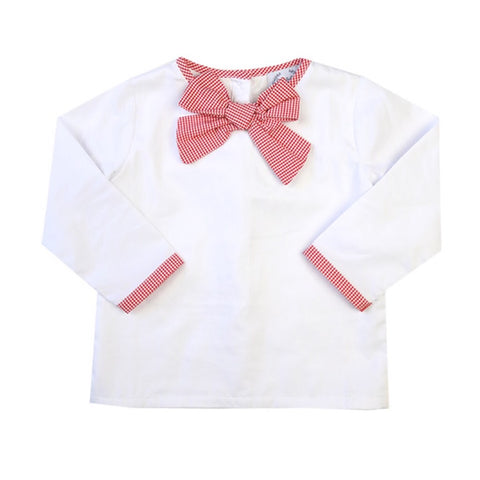 Girls Red Gingham Bow Top