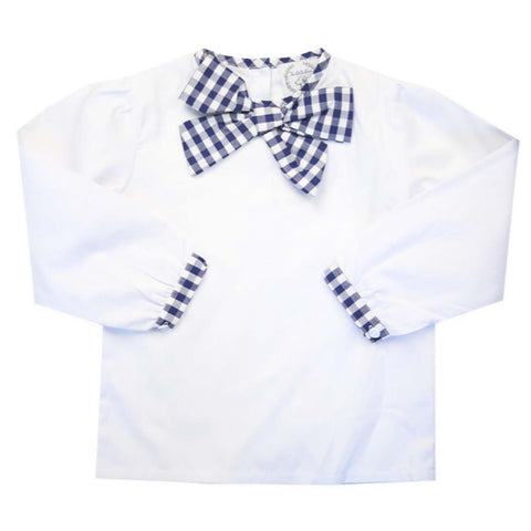 Girls Navy Gingham Bow Top