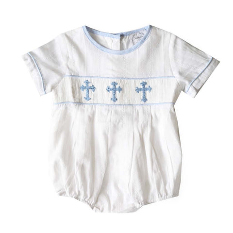Classic Baby Boy Crosses Short Sleeve Bubble