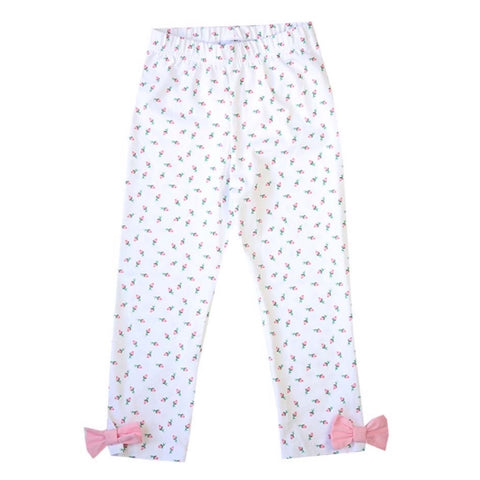 Girls Rosebud Bow Leggings