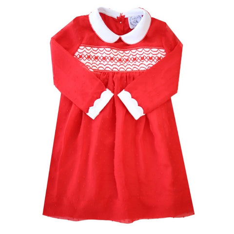 Sophie Smocked Heart Swiss-Dot Dress