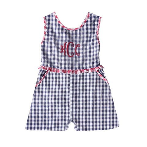 Patriot Navy Gingham Seersucker Romper