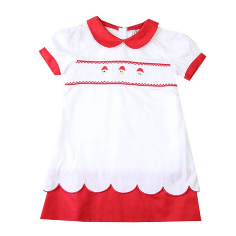 santa smocked dress classic style for girls christmas