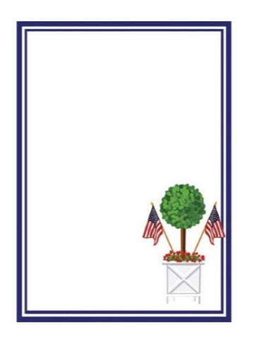 Patriotic Topiary Tree Notepad