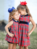 Rosie Red Tartan & Navy Velvet Dress